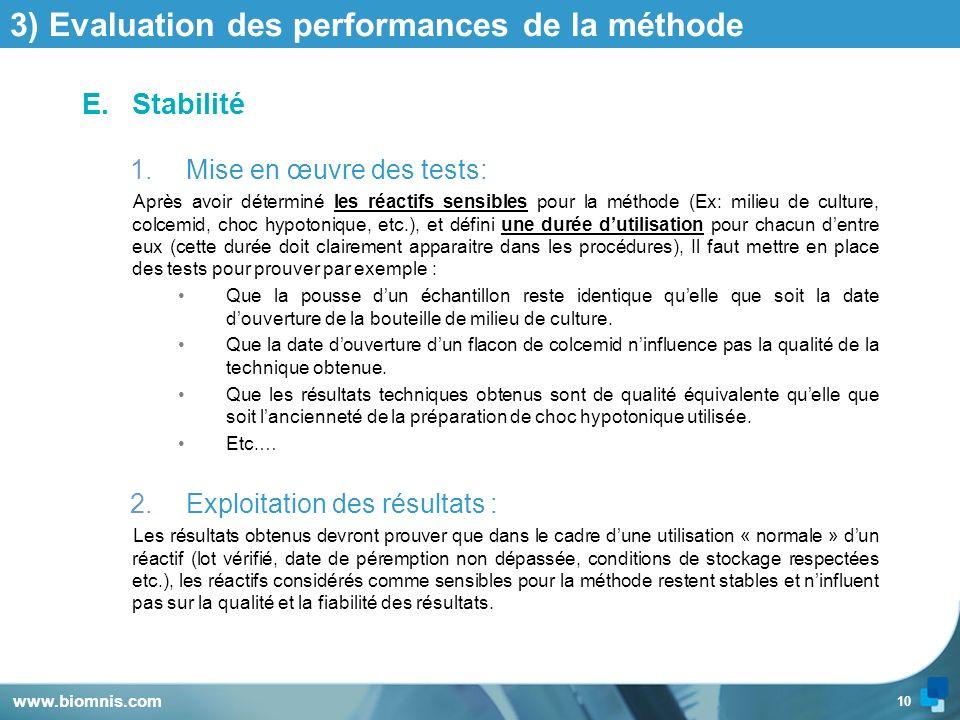10 3) Evaluation des performances de la méthode E.Stabilité 1.Mise en œuvre des tests: Après avoir déterminé les réactifs sensibles pour la méthode (E
