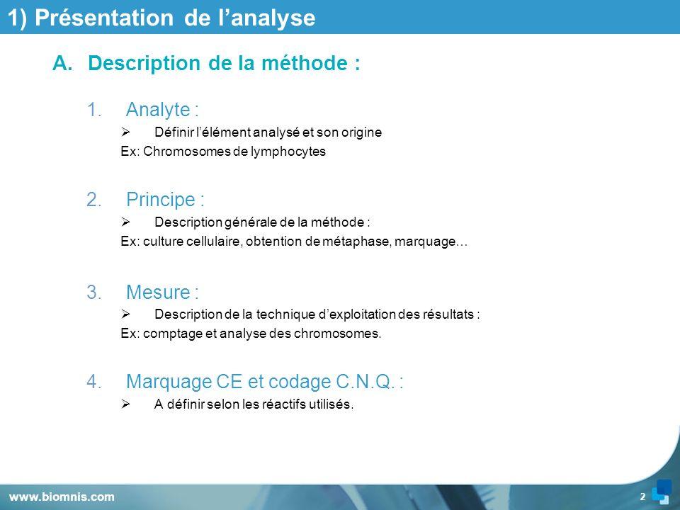 2 www.biomnis.com 1) Présentation de lanalyse A.Description de la méthode : 1.Analyte : Définir lélément analysé et son origine Ex: Chromosomes de lym