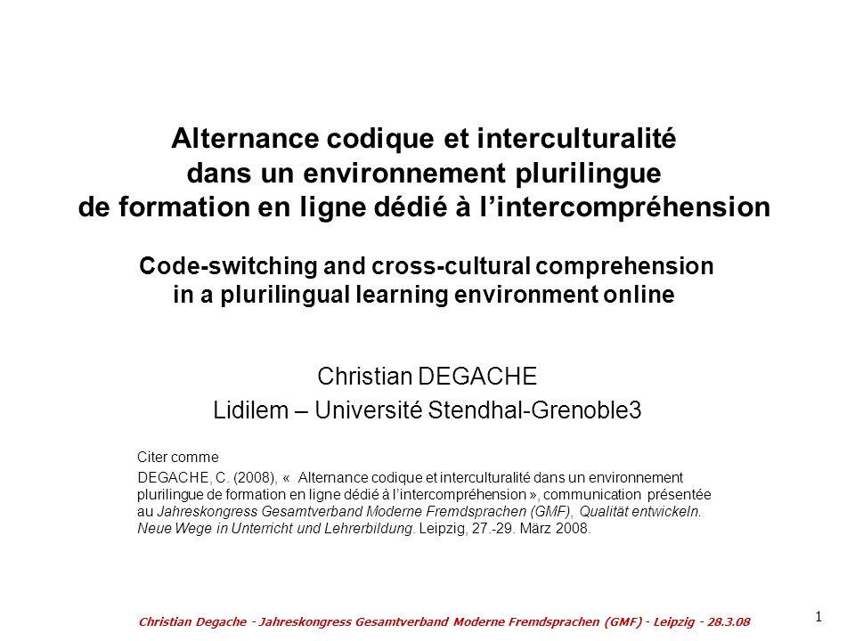 Alternance codique et interculturalité dans un environnement plurilingue de formation en ligne dédié à lintercompréhension Code-switching and cross-cu