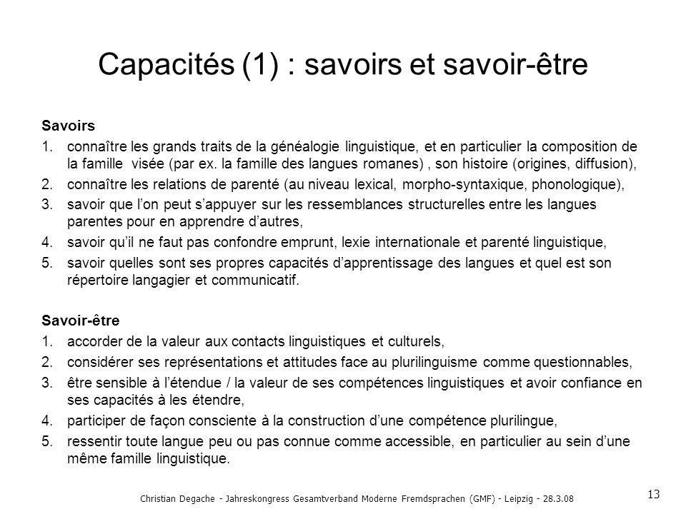 Capacités (1) : savoirs et savoir-être Savoirs 1.connaître les grands traits de la généalogie linguistique, et en particulier la composition de la fam