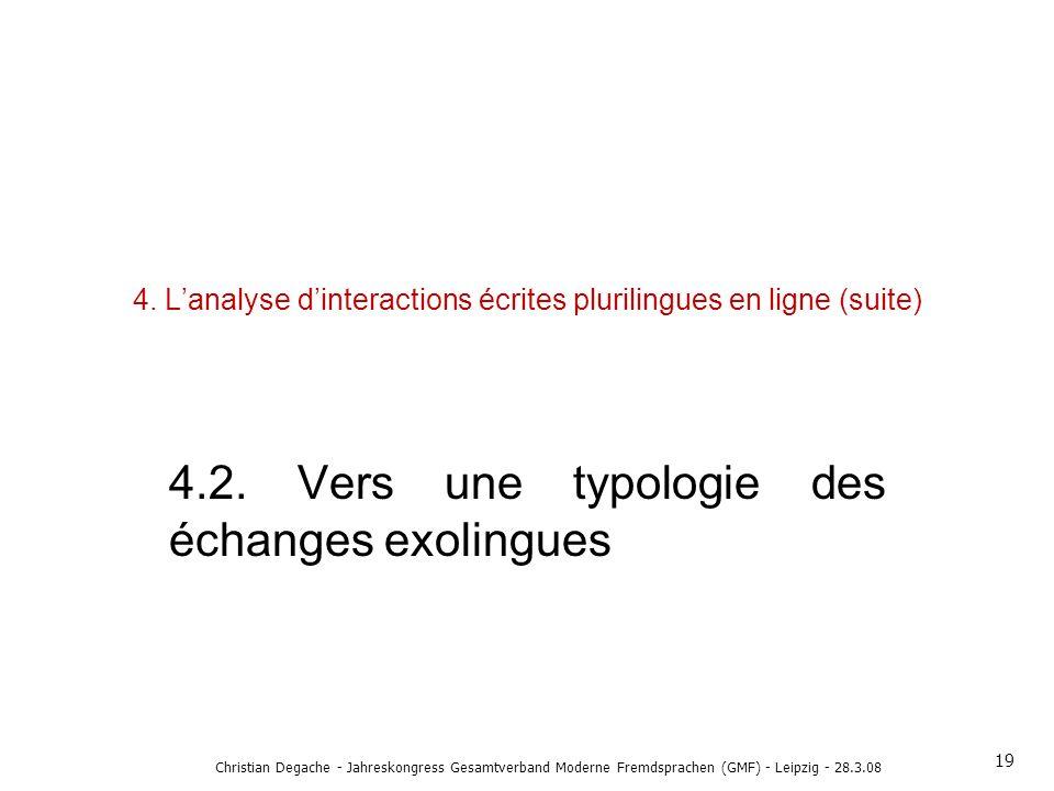 4. Lanalyse dinteractions écrites plurilingues en ligne (suite) 4.2. Vers une typologie des échanges exolingues 19 Christian Degache - Jahreskongress