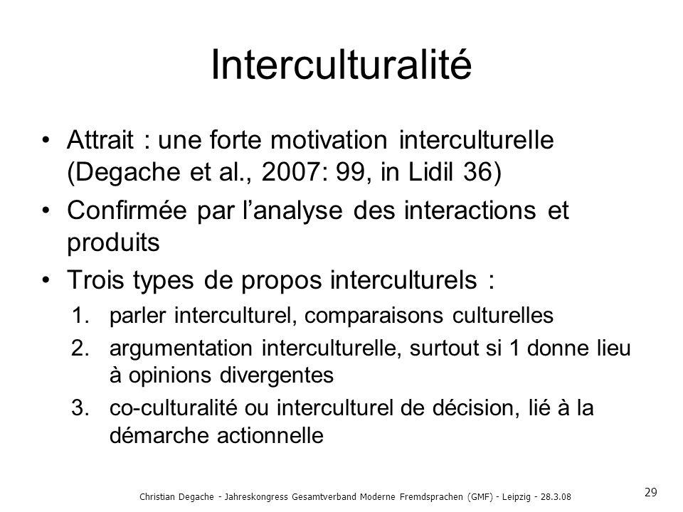 Interculturalité Attrait : une forte motivation interculturelle (Degache et al., 2007: 99, in Lidil 36) Confirmée par lanalyse des interactions et pro