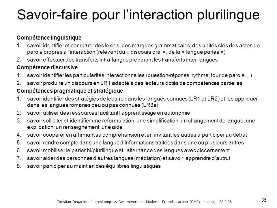 Savoir-faire pour linteraction plurilingue Compétence linguistique 1.savoir identifier et comparer des lexies, des marques grammaticales, des unités c