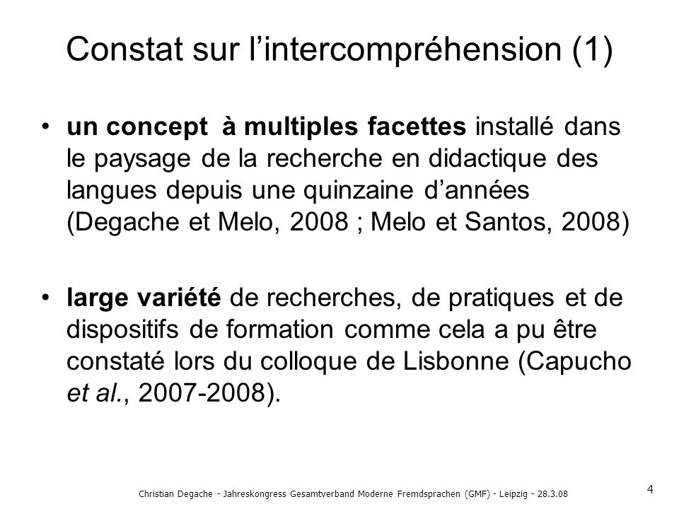 Constat sur lintercompréhension (1) un concept à multiples facettes installé dans le paysage de la recherche en didactique des langues depuis une quin