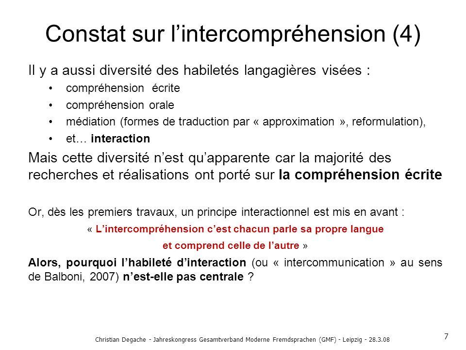 Christian Degache - Jahreskongress Gesamtverband Moderne Fremdsprachen (GMF) - Leipzig - 28.3.08 Constat sur lintercompréhension (4) Il y a aussi dive