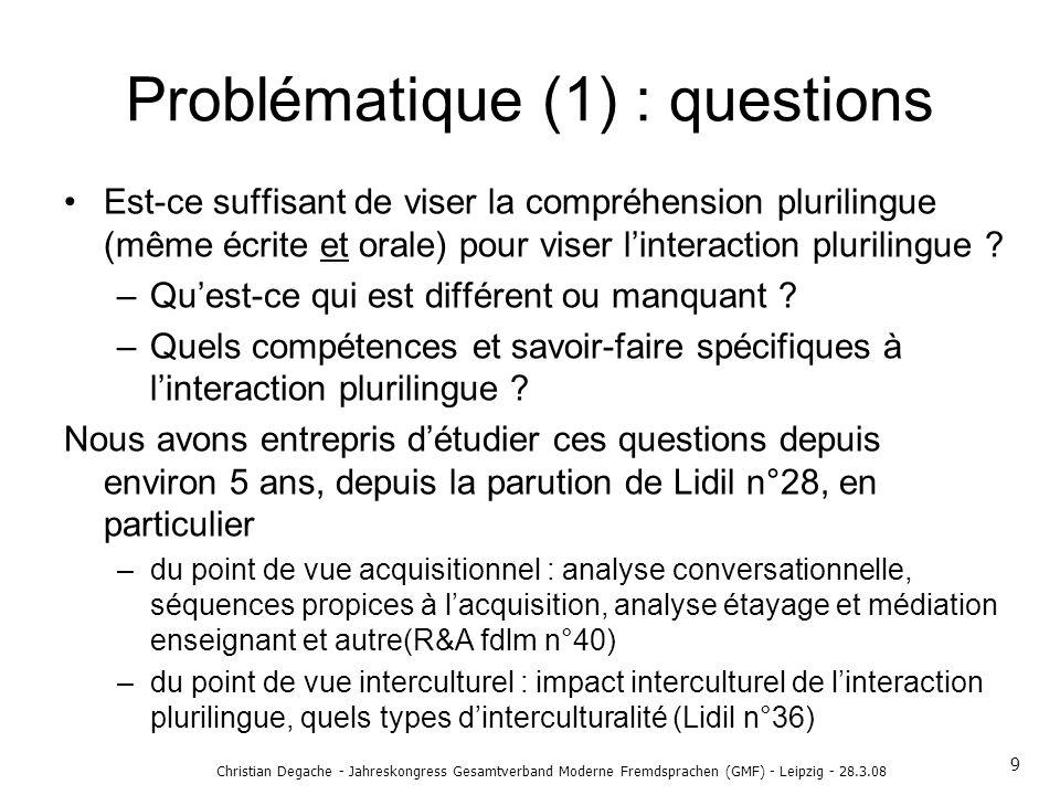 Problématique (1) : questions Est-ce suffisant de viser la compréhension plurilingue (même écrite et orale) pour viser linteraction plurilingue ? –Que