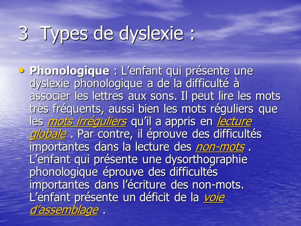 3 Types de dyslexie : Phonologique : Lenfant qui présente une dyslexie phonologique a de la difficulté à associer les lettres aux sons.
