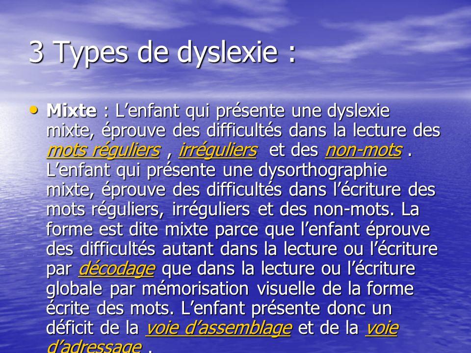 3 Types de dyslexie : Mixte : Lenfant qui présente une dyslexie mixte, éprouve des difficultés dans la lecture des mots réguliers, irréguliers et des non-mots.