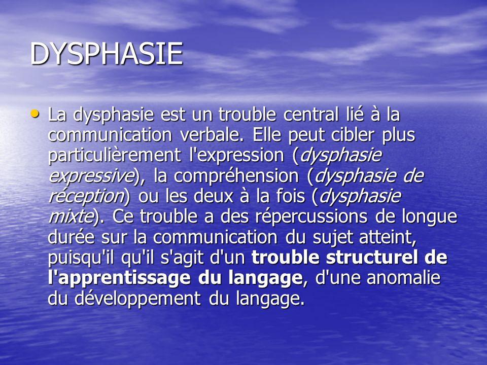 DYSPHASIE La dysphasie est un trouble central lié à la communication verbale.