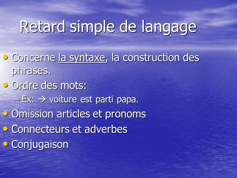 Retard simple de langage Retard simple de langage Concerne la syntaxe, la construction des phrases.