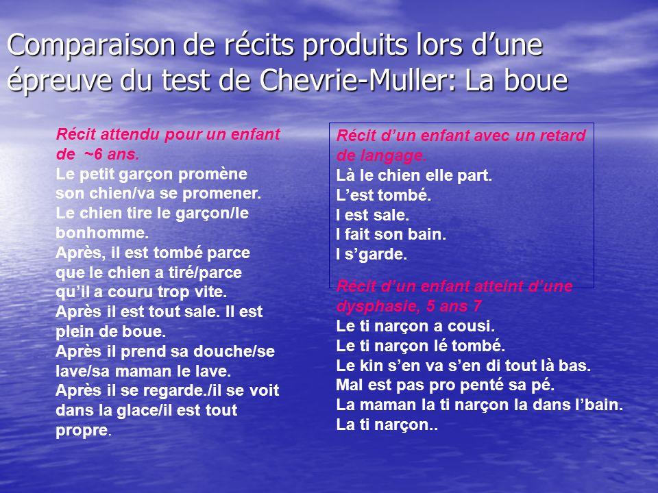 Comparaison de récits produits lors dune épreuve du test de Chevrie-Muller: La boue Récit attendu pour un enfant de ~6 ans.