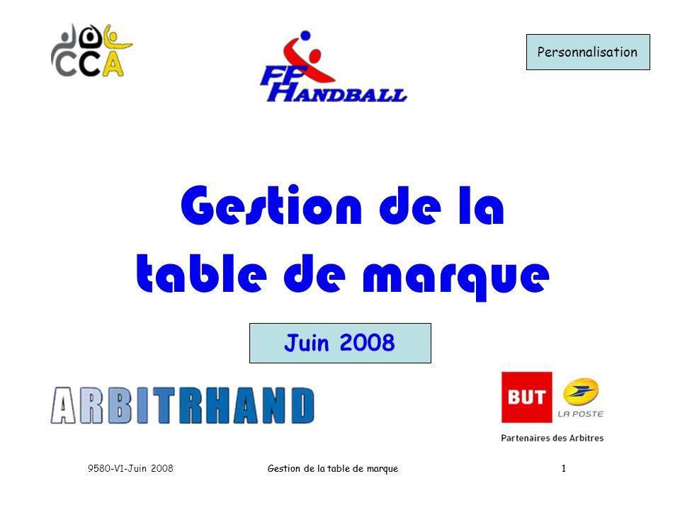 Gestion de la table de marque9580-V1-Juin 20081Gestion de la table de marque1 Juin 2008 Gestion de la table de marque Personnalisation