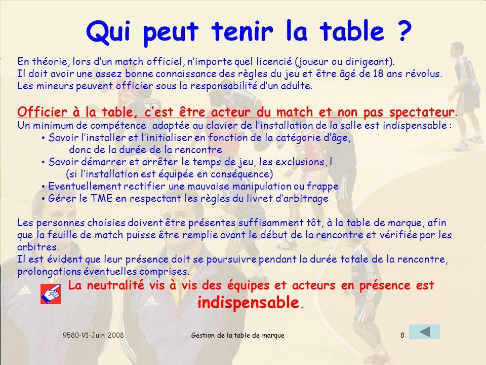 Gestion de la table de marque9580-V1-Juin 20088Gestion de la table de marque8 Qui peut tenir la table .
