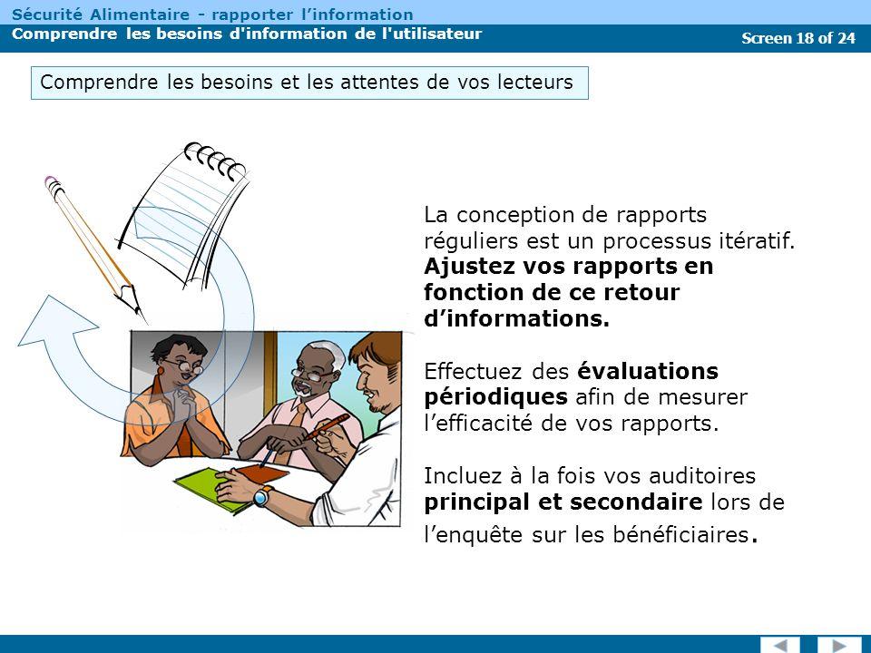 Screen 18 of 24 Sécurité Alimentaire - rapporter linformation Comprendre les besoins d information de l utilisateur La conception de rapports réguliers est un processus itératif.