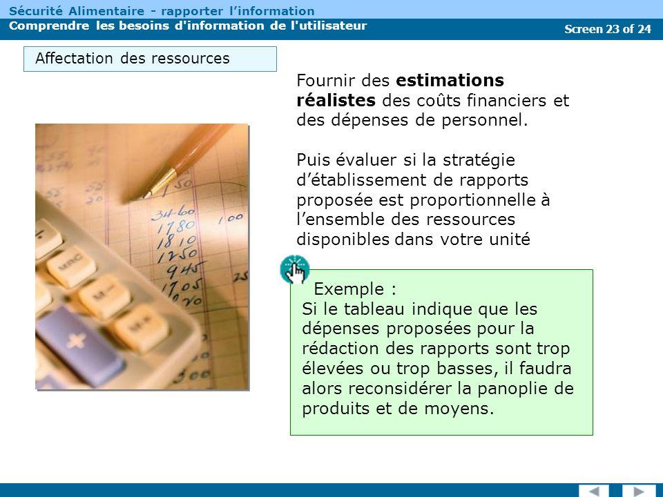 Screen 23 of 24 Sécurité Alimentaire - rapporter linformation Comprendre les besoins d information de l utilisateur Fournir des estimations réalistes des coûts financiers et des dépenses de personnel.