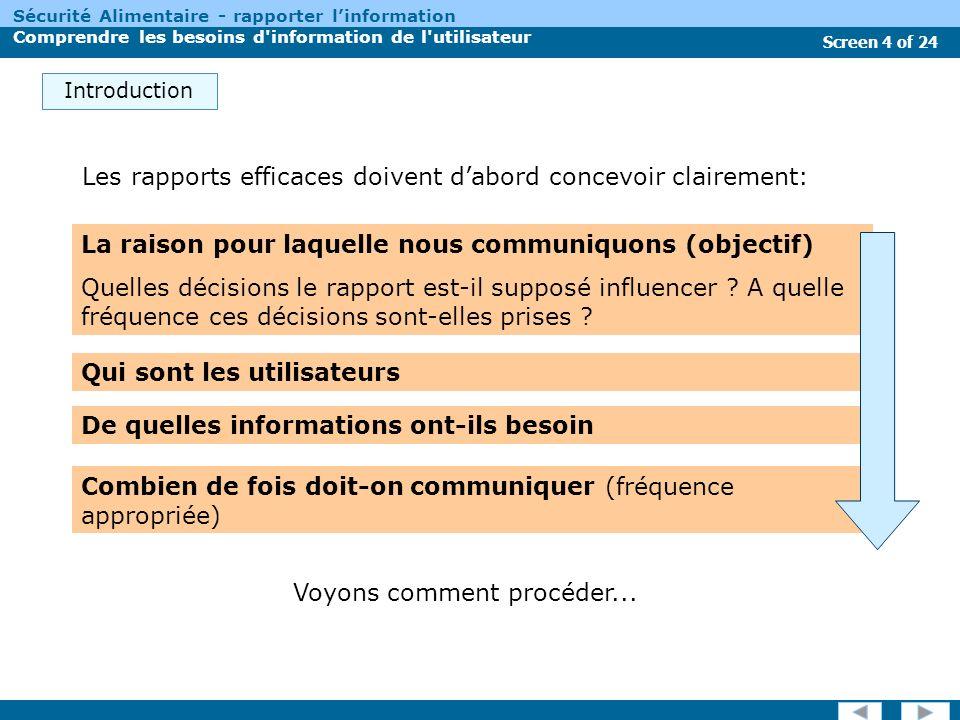 Screen 15 of 24 Sécurité Alimentaire - rapporter linformation Comprendre les besoins d information de l utilisateur Linteraction directe avec lauditoire principal est très importante pour comprendre ces objectifs.