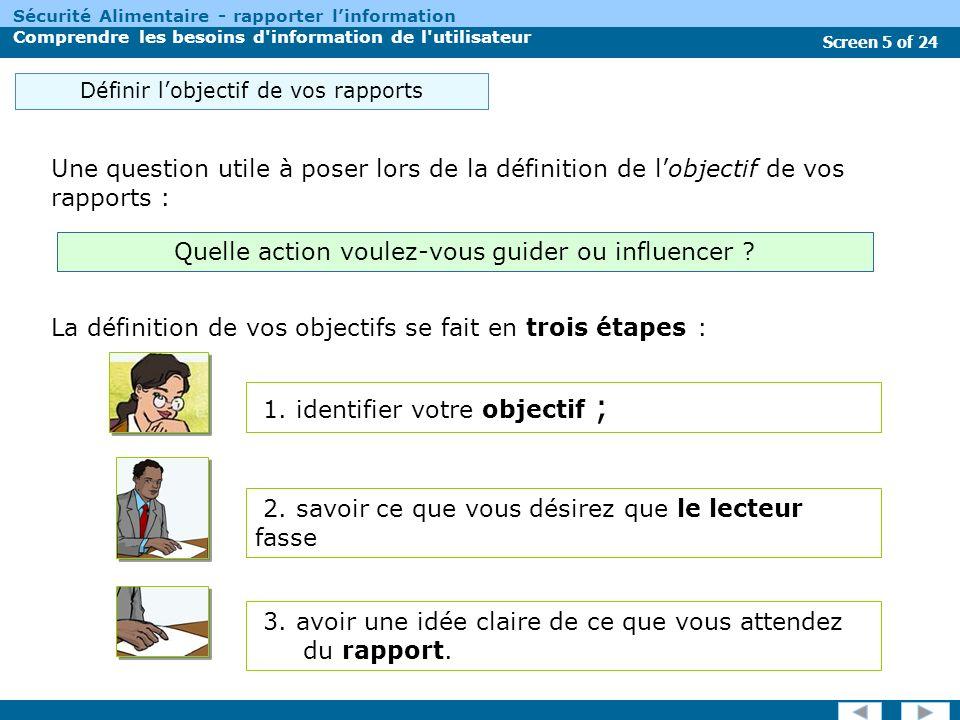 Screen 16 of 24 Sécurité Alimentaire - rapporter linformation Comprendre les besoins d information de l utilisateur Actuellement de quelles sources dinformation disposent les décideurs .