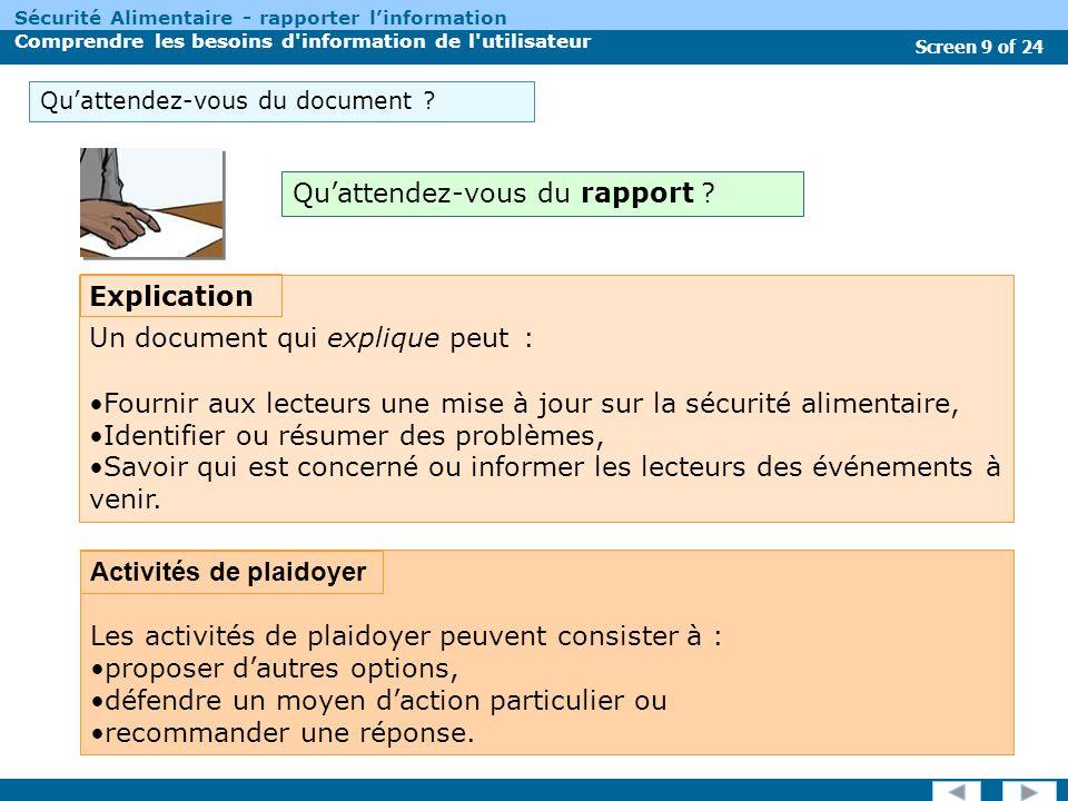 Screen 9 of 24 Sécurité Alimentaire - rapporter linformation Comprendre les besoins d information de l utilisateur Quattendez-vous du document .