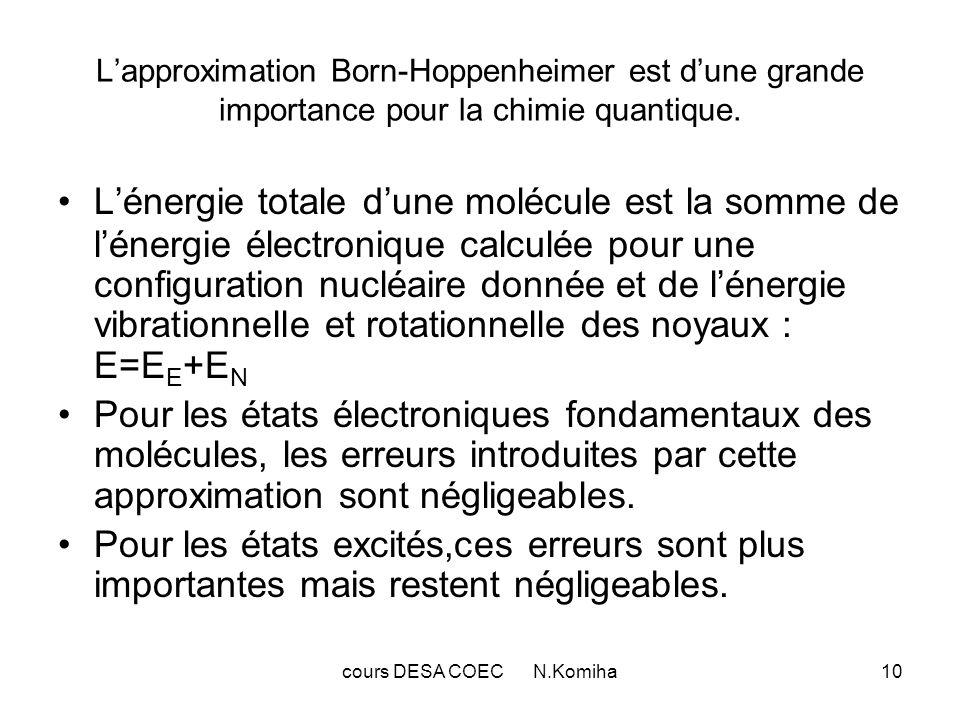 cours DESA COEC N.Komiha10 Lapproximation Born-Hoppenheimer est dune grande importance pour la chimie quantique. Lénergie totale dune molécule est la