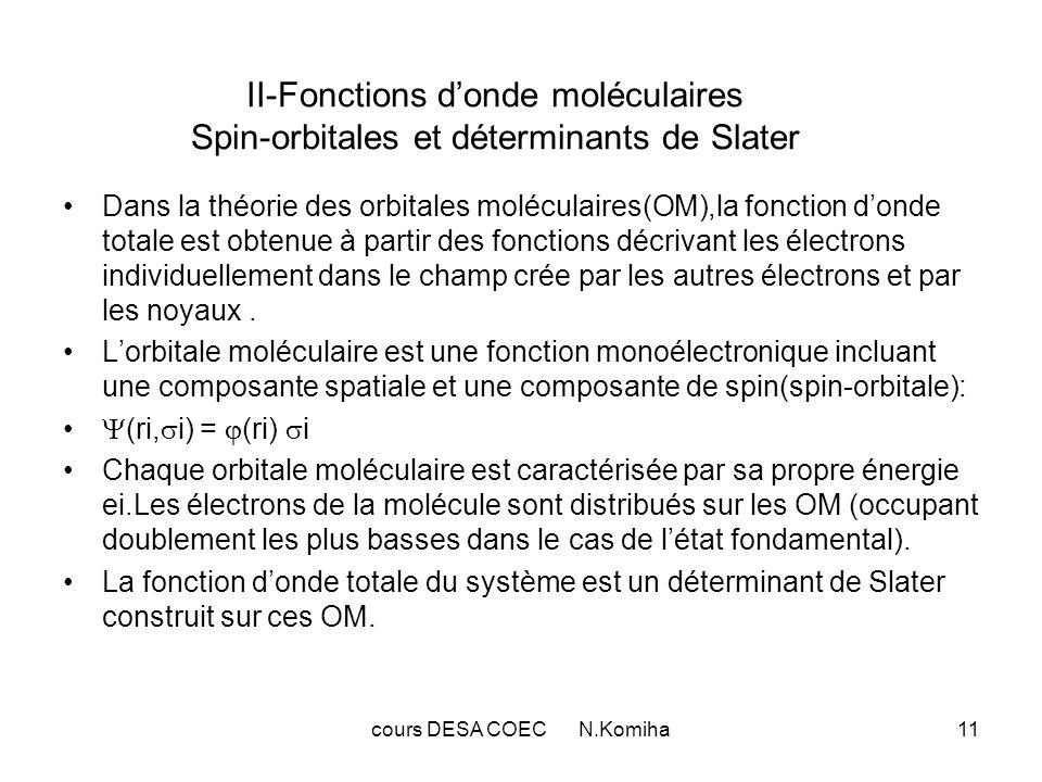 cours DESA COEC N.Komiha11 II-Fonctions donde moléculaires Spin-orbitales et déterminants de Slater Dans la théorie des orbitales moléculaires(OM),la