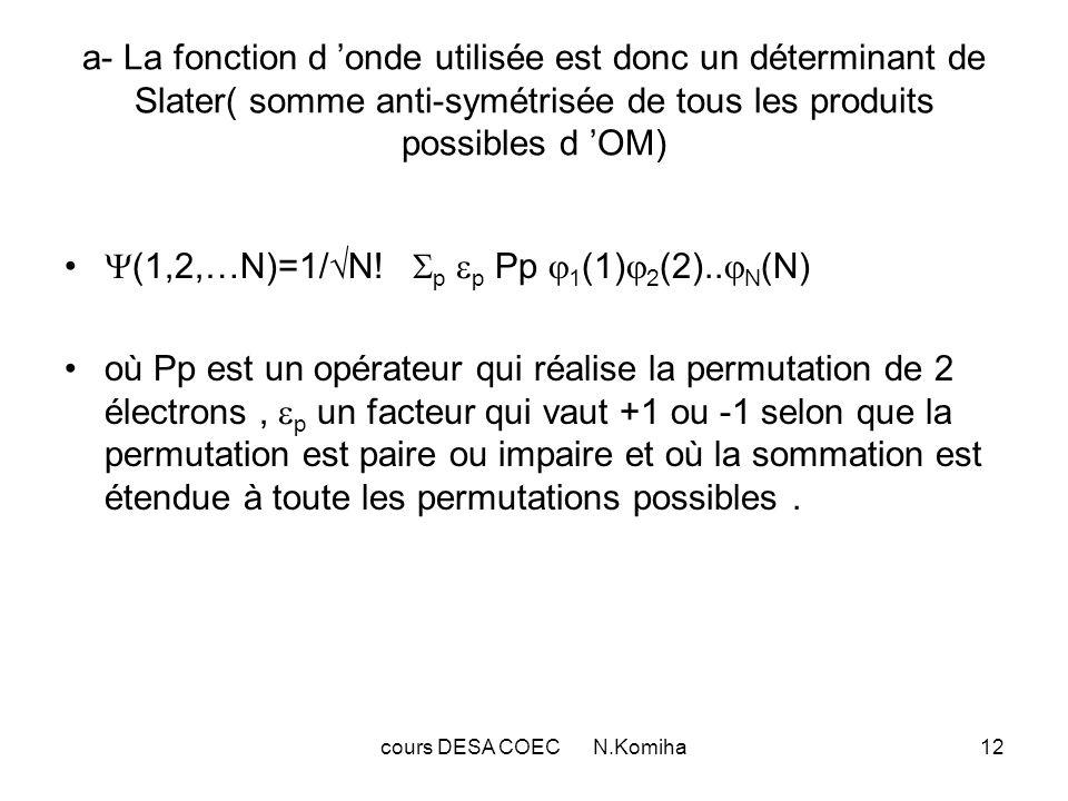 cours DESA COEC N.Komiha12 a- La fonction d onde utilisée est donc un déterminant de Slater( somme anti-symétrisée de tous les produits possibles d OM) (1,2,…N)=1/ N.
