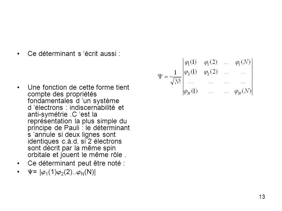 13 Ce déterminant s écrit aussi : Une fonction de cette forme tient compte des propriétés fondamentales d un système d électrons : indiscernabilité et