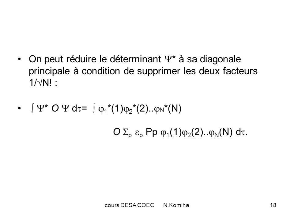 cours DESA COEC N.Komiha18 On peut réduire le déterminant * à sa diagonale principale à condition de supprimer les deux facteurs 1/ N! : * O d = 1 *(1