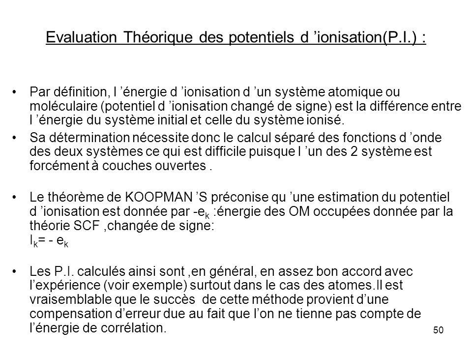 50 Evaluation Théorique des potentiels d ionisation(P.I.) : Par définition, l énergie d ionisation d un système atomique ou moléculaire (potentiel d ionisation changé de signe) est la différence entre l énergie du système initial et celle du système ionisé.