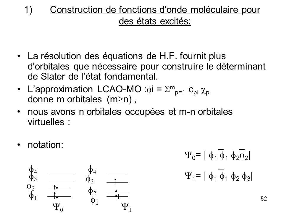 52 1)Construction de fonctions donde moléculaire pour des états excités: La résolution des équations de H.F. fournit plus dorbitales que nécessaire po