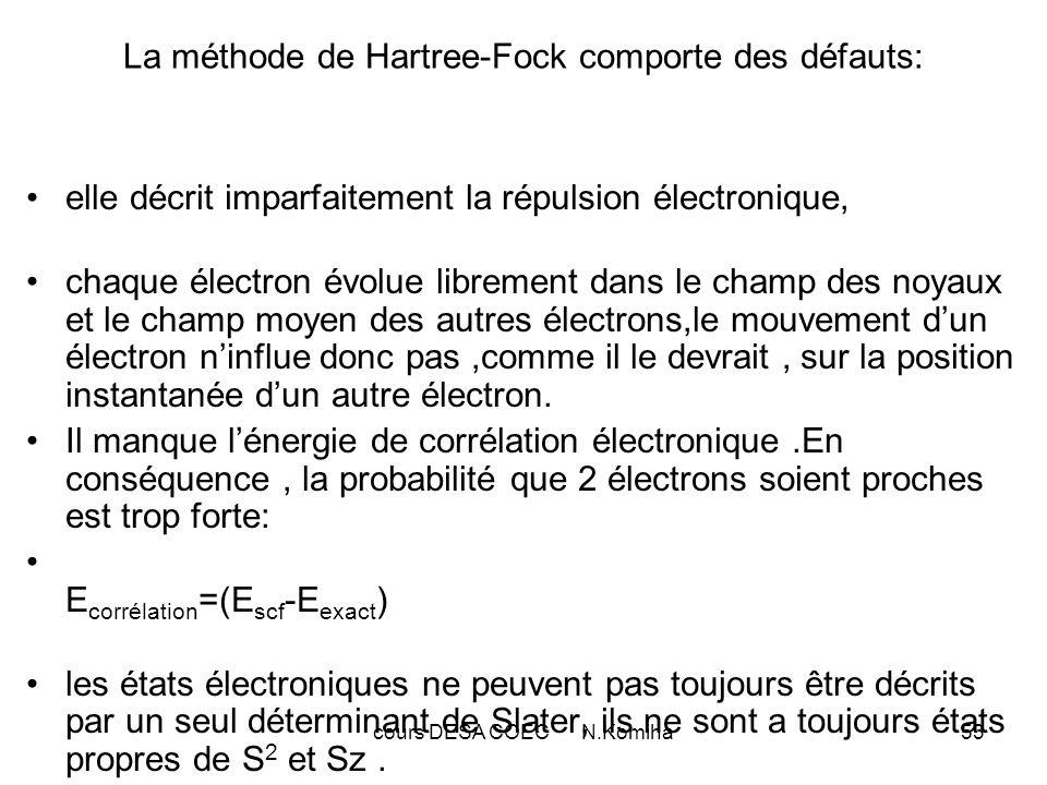 cours DESA COEC N.Komiha53 La méthode de Hartree-Fock comporte des défauts: elle décrit imparfaitement la répulsion électronique, chaque électron évol