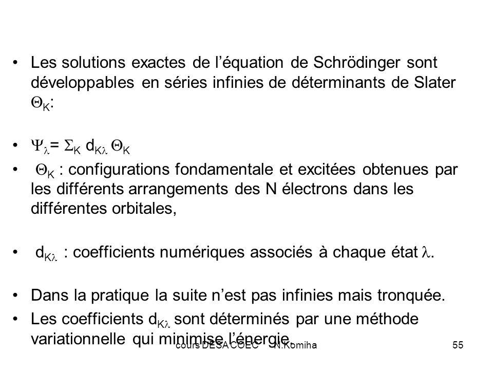 cours DESA COEC N.Komiha55 Les solutions exactes de léquation de Schrödinger sont développables en séries infinies de déterminants de Slater K : = K d K K K : configurations fondamentale et excitées obtenues par les différents arrangements des N électrons dans les différentes orbitales, d K : coefficients numériques associés à chaque état.