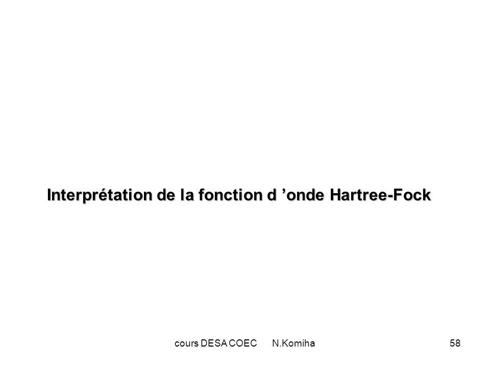 cours DESA COEC N.Komiha58 Interprétation de la fonction d onde Hartree-Fock