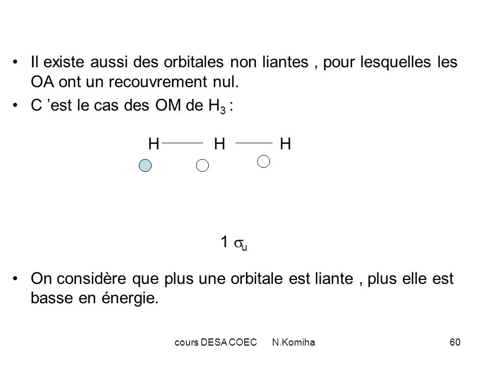 cours DESA COEC N.Komiha60 Il existe aussi des orbitales non liantes, pour lesquelles les OA ont un recouvrement nul. C est le cas des OM de H 3 : H H