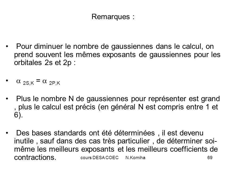 cours DESA COEC N.Komiha69 Remarques : Pour diminuer le nombre de gaussiennes dans le calcul, on prend souvent les mêmes exposants de gaussiennes pour les orbitales 2s et 2p : 2S,K = 2P,K Plus le nombre N de gaussiennes pour représenter est grand, plus le calcul est précis (en général N est compris entre 1 et 6).