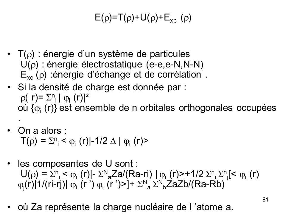 81 E( )=T( )+U( )+E xc ( ) T( ) : énergie dun système de particules U( ) : énergie électrostatique (e-e,e-N,N-N) E xc ( ) :énergie déchange et de corr