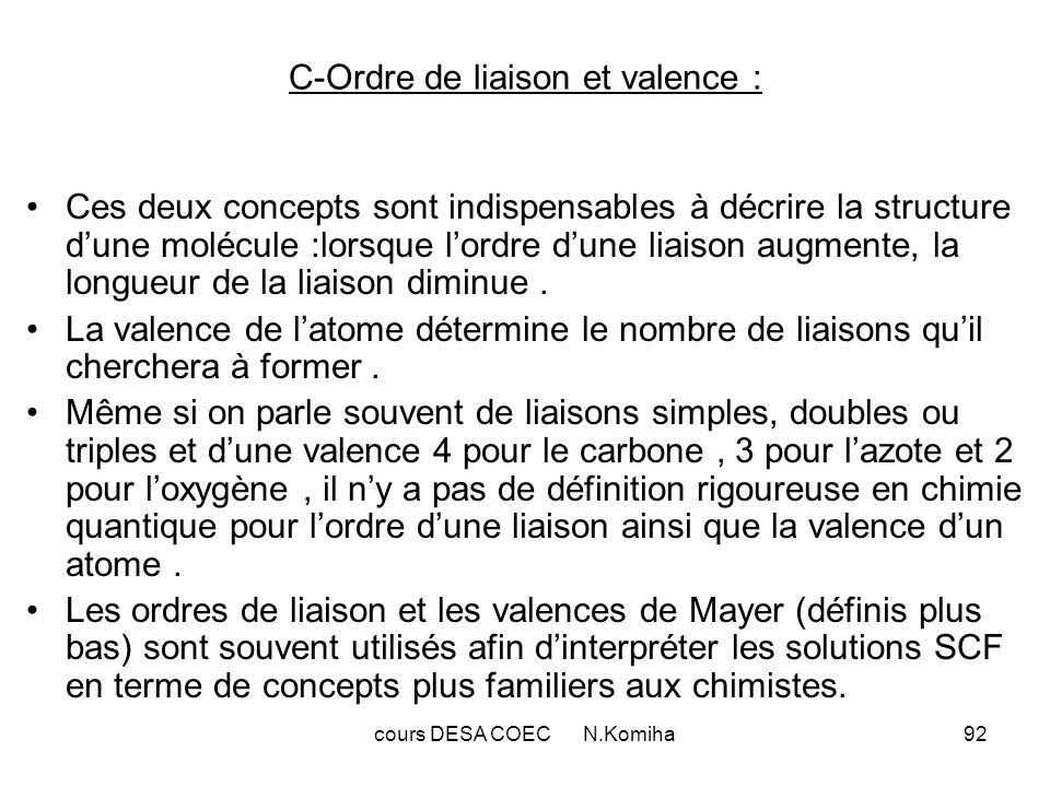 cours DESA COEC N.Komiha92 C-Ordre de liaison et valence : Ces deux concepts sont indispensables à décrire la structure dune molécule :lorsque lordre