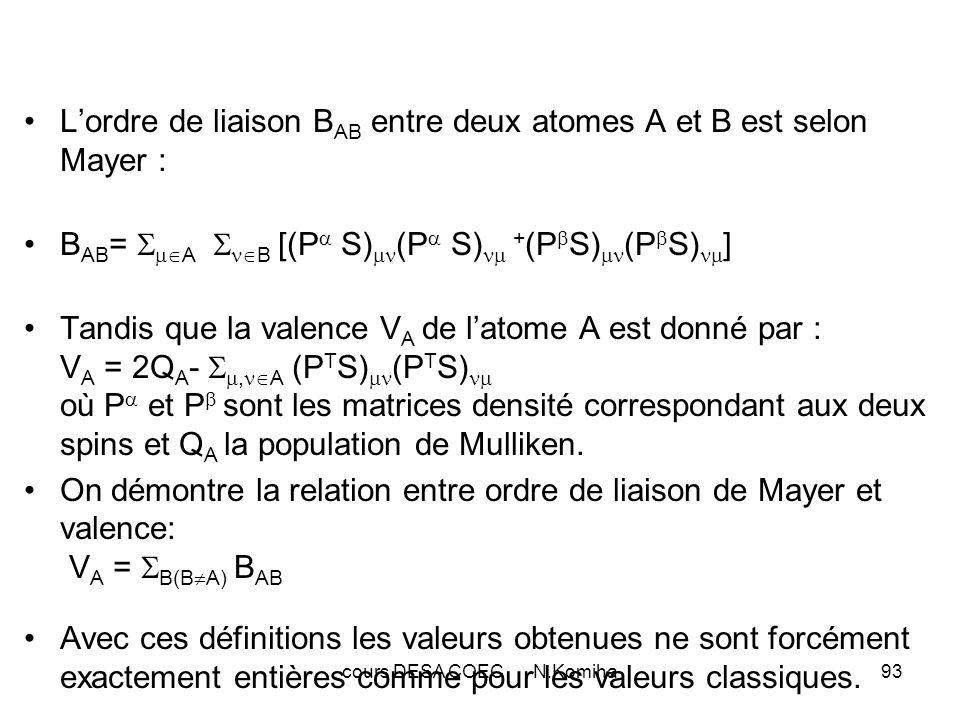 cours DESA COEC N.Komiha93 Lordre de liaison B AB entre deux atomes A et B est selon Mayer : B AB = A B [(P S) (P S) + (P S) (P S) ] Tandis que la valence V A de latome A est donné par : V A = 2Q A -, A (P T S) (P T S) où P et P sont les matrices densité correspondant aux deux spins et Q A la population de Mulliken.