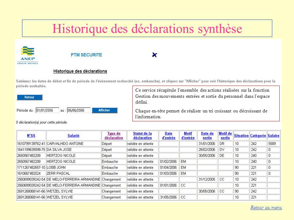 Historique des déclarations synthèse Ce service récapitule l'ensemble des actions réalisées sur la fonction Gestion des mouvements entrées et sortie d