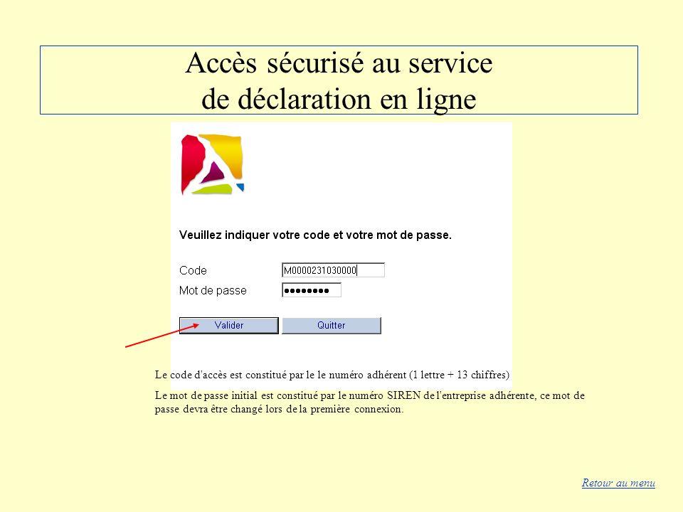 Accès sécurisé au service de déclaration en ligne Le code d'accès est constitué par le le numéro adhérent (1 lettre + 13 chiffres) Le mot de passe ini