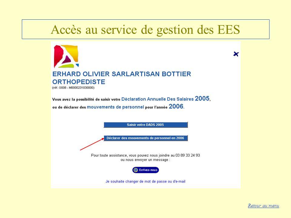 Accès au service de gestion des EES Retour au menu