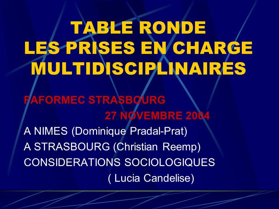 TABLE RONDE LES PRISES EN CHARGE MULTIDISCIPLINAIRES FAFORMEC STRASBOURG 27 NOVEMBRE 2004 A NIMES (Dominique Pradal-Prat) A STRASBOURG (Christian Reemp) CONSIDERATIONS SOCIOLOGIQUES ( Lucia Candelise)