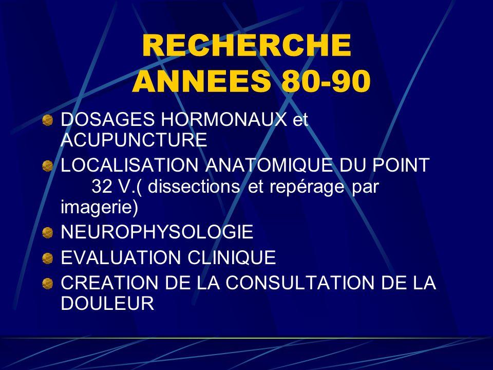 RECHERCHE ANNEES 80-90 DOSAGES HORMONAUX et ACUPUNCTURE LOCALISATION ANATOMIQUE DU POINT 32 V.( dissections et repérage par imagerie) NEUROPHYSOLOGIE EVALUATION CLINIQUE CREATION DE LA CONSULTATION DE LA DOULEUR