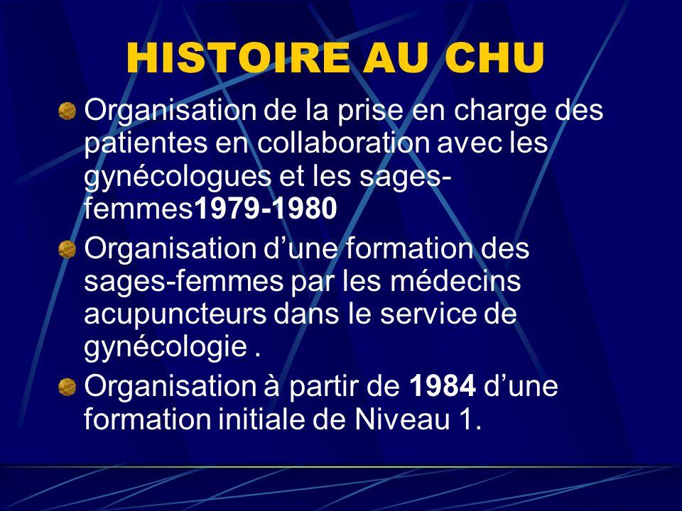 HISTOIRE AU CHU Organisation de la prise en charge des patientes en collaboration avec les gynécologues et les sages- femmes1979-1980 Organisation dune formation des sages-femmes par les médecins acupuncteurs dans le service de gynécologie.