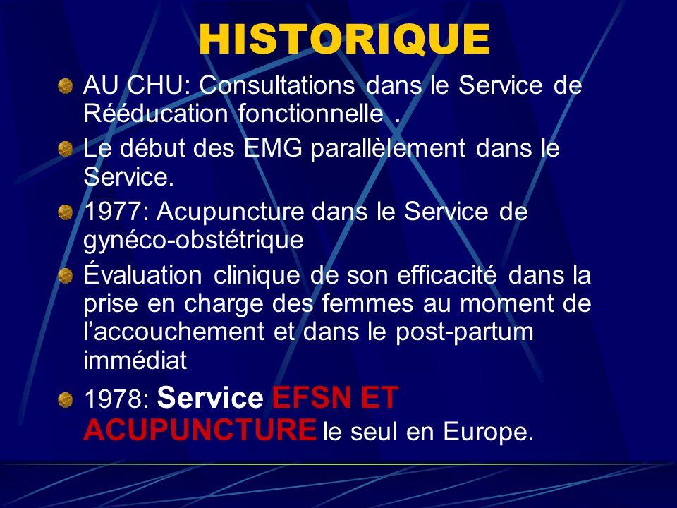 HISTORIQUE AU CHU: Consultations dans le Service de Rééducation fonctionnelle.