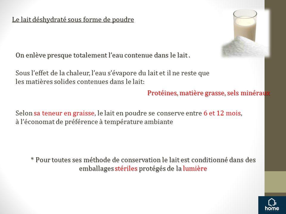 Le lait déshydraté sous forme de poudre On enlève presque totalement leau contenue dans le lait. Sous leffet de la chaleur, leau sévapore du lait et i