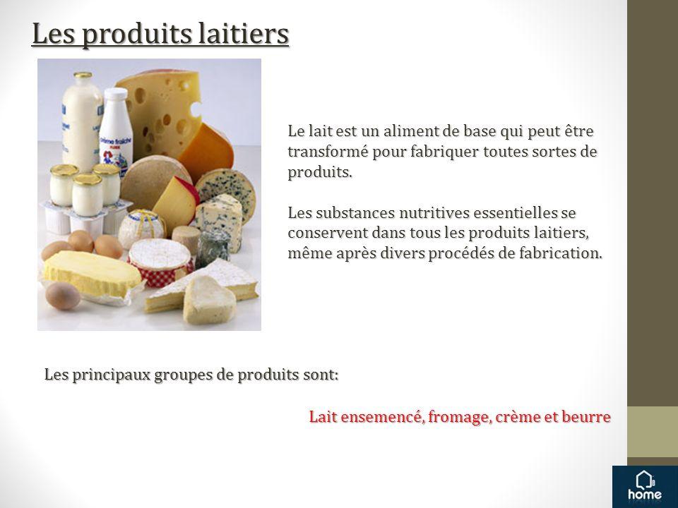 Les produits laitiers Le lait est un aliment de base qui peut être transformé pour fabriquer toutes sortes de produits. Les substances nutritives esse