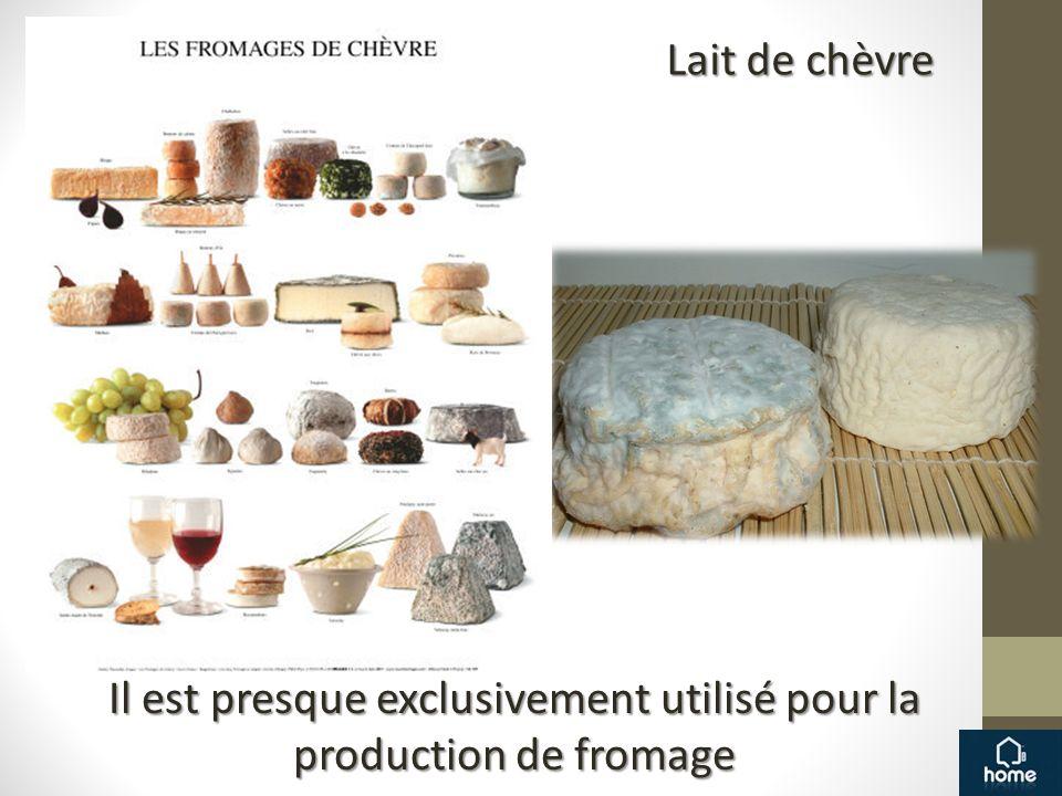 Lait de chèvre Il est presque exclusivement utilisé pour la production de fromage