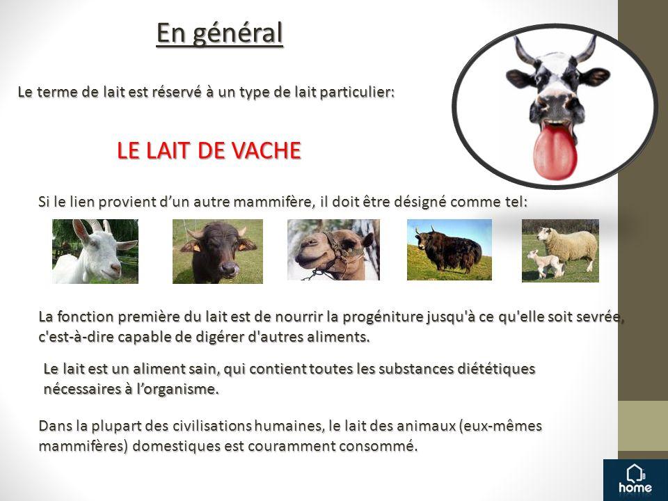En général Si le lien provient dun autre mammifère, il doit être désigné comme tel: Le lait est un aliment sain, qui contient toutes les substances di