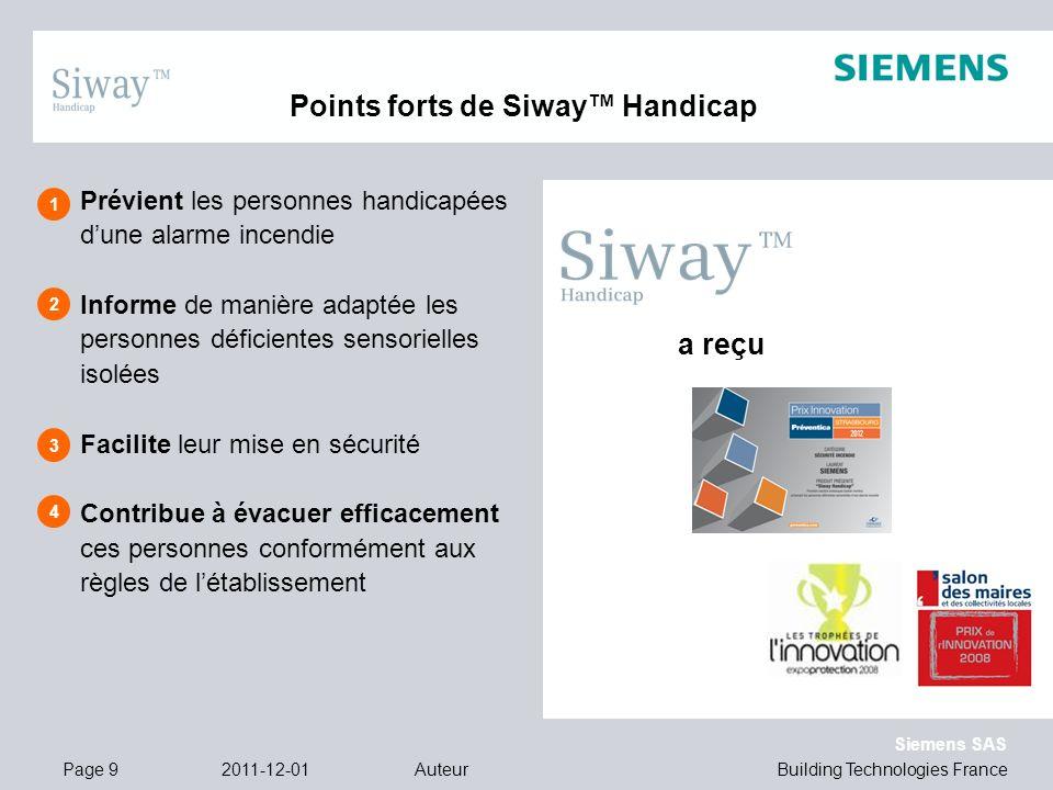 Building Technologies France Siemens SAS 1 2 3 4 a reçu 2011-12-01AuteurPage 9 Prévient les personnes handicapées dune alarme incendie Informe de mani