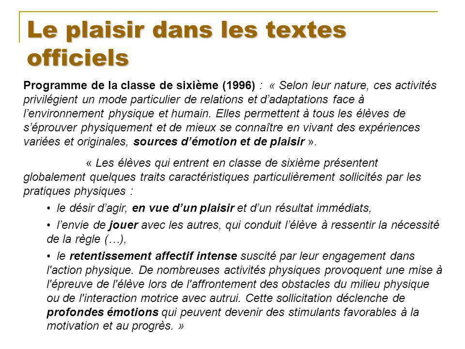 Le plaisir dans les textes officiels Programme de la classe de sixième (1996) : « Selon leur nature, ces activités privilégient un mode particulier de